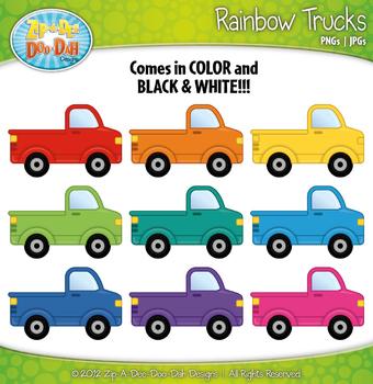 Rainbow Trucks Clipart — Includes 10 Bright Graphics!