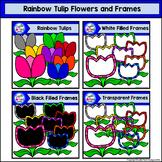 Rainbow Tulip Flowers and Frames Clip Art Set - Doodle Pat