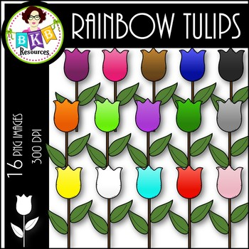 Rainbow Tulips ● Clip Art ● Products for TpT Sellers