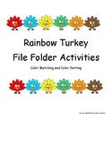 Autism Rainbow Turkey File Folder Activities