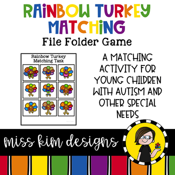 Rainbow Turkey Matching Folder Game for Early Childhood Special Education