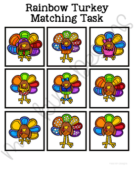 Folder Game: Rainbow Turkey Matching for Students with Autism & Special Needs
