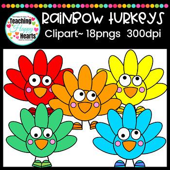 Rainbow Turkeys Clipart