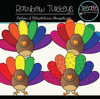 Rainbow Turkeys - Digital Clipart