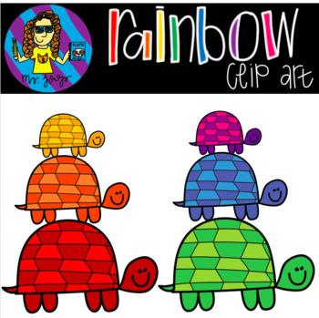 Rainbow Turtle Clip Art {FREEBIE}
