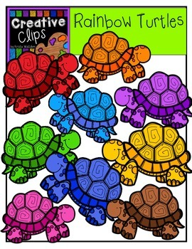 Rainbow Turtles {Creative Clips Digital Clipart}