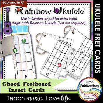 Rainbow Ukulele Fretboard Chord Insert Charts For The Ukulele Tpt