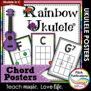 Rainbow Ukulele - Ukulele Chord Chart Posters - Letter and 11 by 17