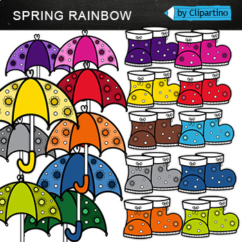 Rainbow Umbrellas Clipart