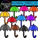 Rainbow Umbrellas: Spring Clipart {Creative Clips Clipart}