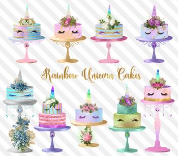 Rainbow Unicorn Cakes Clipart, magical pastel birthday party graphics