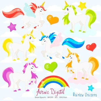 Rainbow Unicorn Clipart Scrapbook Commercial Use. Pegasus flying horse graphics