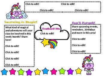 Rainbow Unicorn Editable Newsletter
