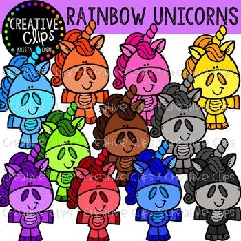 Rainbow Unicorn Littles {Creative Clips Clipart}