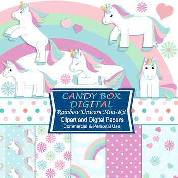 Rainbow Unicorn Mini Kit with Clip Art and DIgital Papers