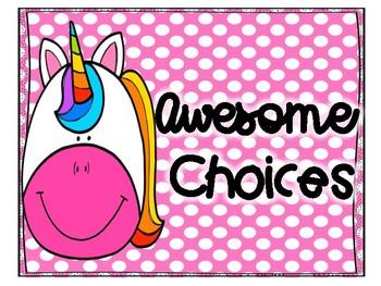 Rainbow Unicorn Polka Dot Behavior Clip Chart
