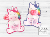 Rainbow Unicorn Printable Valentine's Day Treat Holder Valentine Cards
