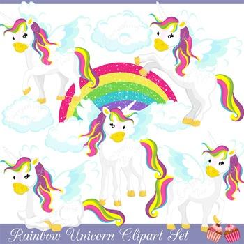 Rainbow Unicorns Clipart Set
