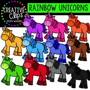 Rainbow Unicorns {Creative Clips Digital Clipart}