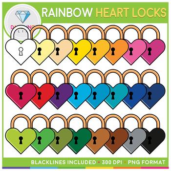 Rainbow Valentine Heart Locks Clip Art