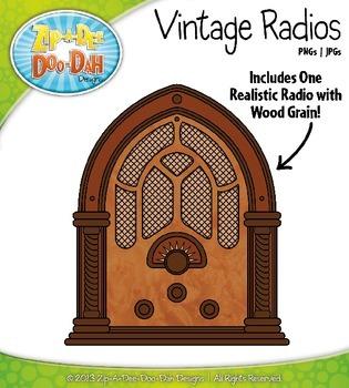 Rainbow Vintage Radios Clip Art — Includes 18 Graphics!