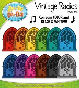 Rainbow Vintage Radios Clip Art — Includes 18 Graphics!