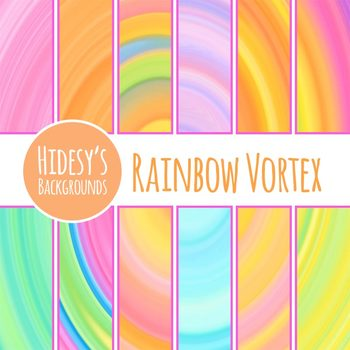 Rainbow Vortex Digital Papers / Backgrounds Clip Art Set Commercial Use