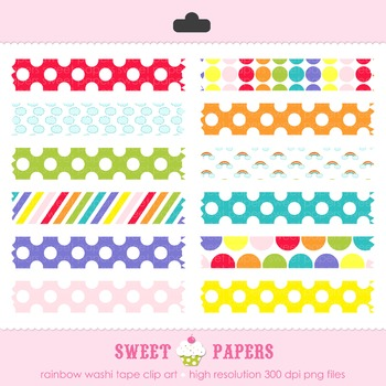 Rainbow Washi Tape Digital Clip Art Set - by Sweet Papers