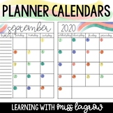 Rainbow Watercolor 2020 - 2021 Editable Planner Calendar