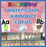 Rainbow Watercolor Alphabet Cards