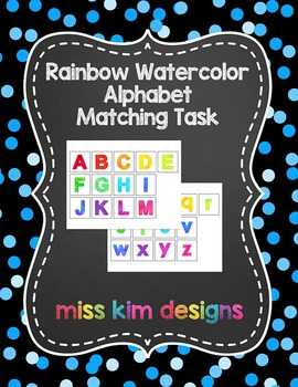 Rainbow Watercolor Alphabet Matching Folder Game