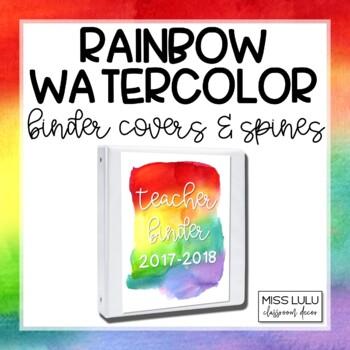 Rainbow Watercolor Binder Covers {Editable}