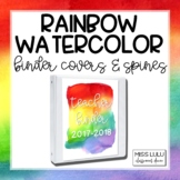 Rainbow Watercolor Binder Covers {Editable}