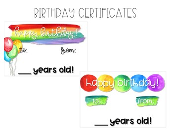 Rainbow Watercolor Birthday Pack