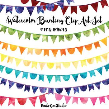 Rainbow Watercolor Bunting Clip Art