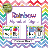 Rainbow Watercolor Chevron Alphabet Signs