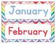 Rainbow Watercolor Chevron Calendar Set