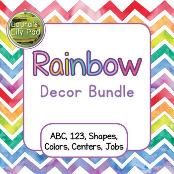 Rainbow Watercolor Chevron Decor Bundle