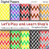 Rainbow Watercolor Chevron Digital Papers