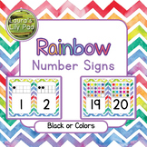 Rainbow Watercolor Chevron Number Signs