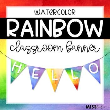 Rainbow Watercolor Classroom Banner