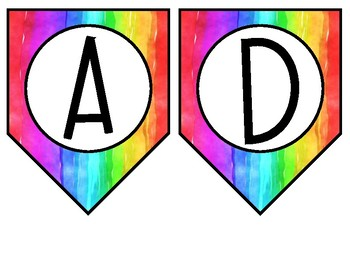 Rainbow Watercolor Classroom Banners