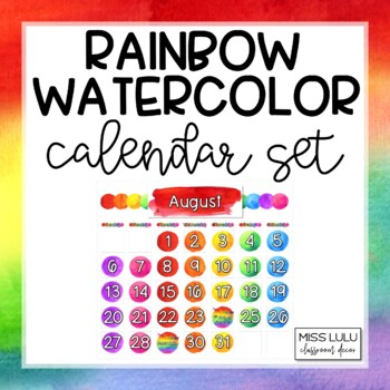 Rainbow Watercolor Classroom Calendar Set