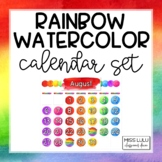 Rainbow Watercolor Classroom Calendar Set (English & Spanish)