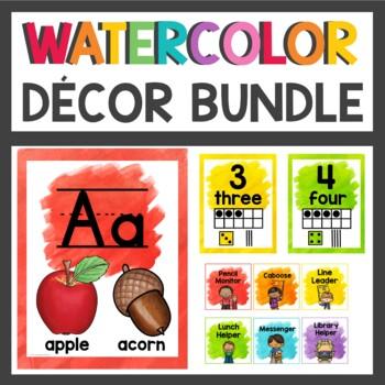 Rainbow Watercolor Splash Decor Bundle