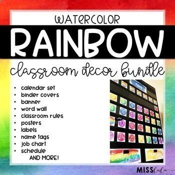 Rainbow Watercolor Classroom Decor Bundle {Growing}