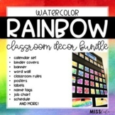Rainbow Watercolor Classroom Decor Bundle