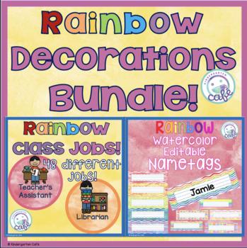 Rainbow Watercolor Classroom Decorations BUNDLE!