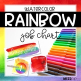 Rainbow Watercolor Classroom Job Chart