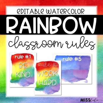 Rainbow Watercolor Classroom Rules {Editable}